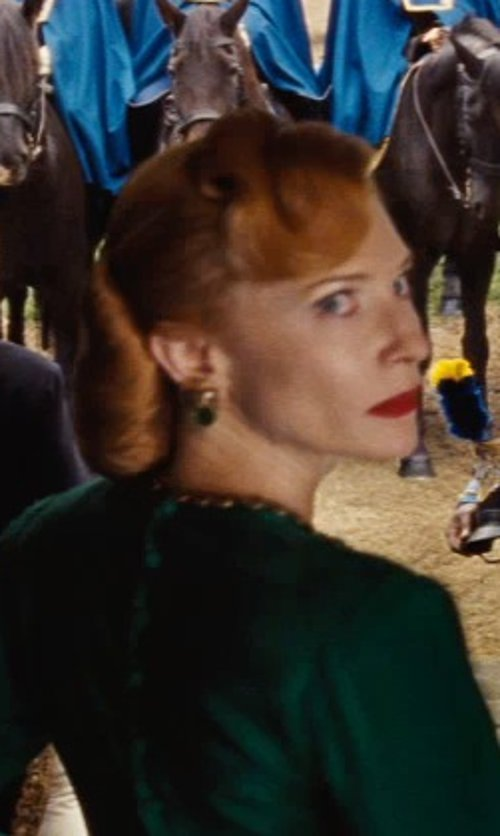 Cate Blanchett with Sandy Powell (Costume Designer) Custom Made Statement Drop Earrings (Lady Tremaine) in Cinderella