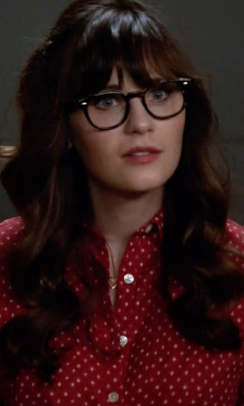 Zooey Deschanel with Talbots Polka-Dot Shirt in New Girl