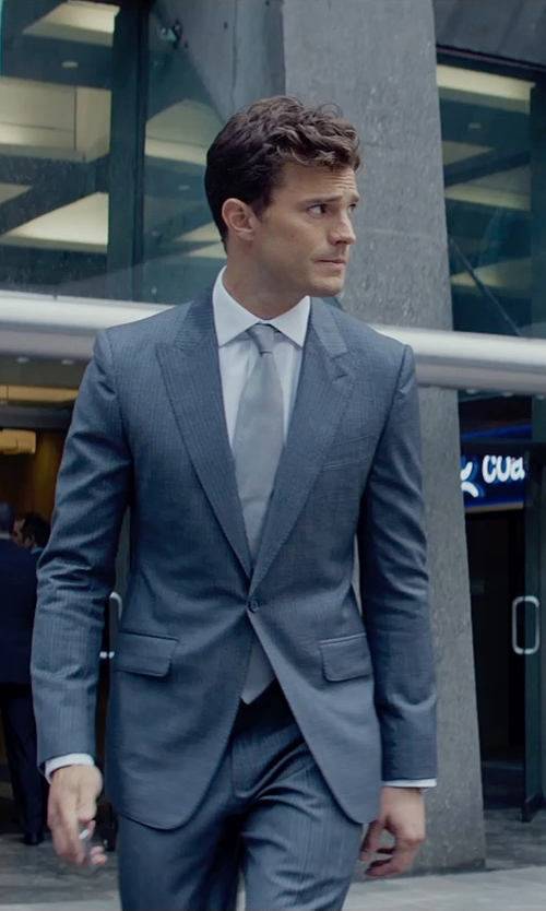 Jamie Dornan with Anto Beverly Hills Woven Gray Zig-Zag Tie in Fifty Shades of Grey