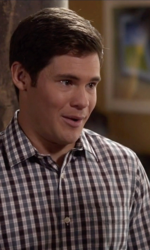 Adam DeVine with Original Penguin Plaid Long Sleeve Woven Heritage Shirt in Modern Family