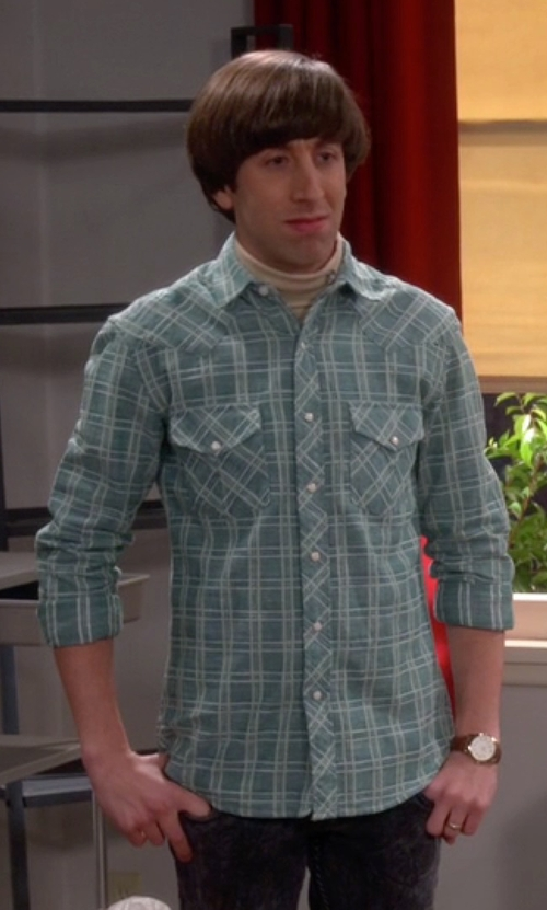 Simon Helberg with Salt Valley  Delco Chambray Plaid Western Shirt in The Big Bang Theory