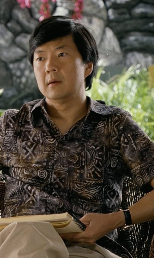 Ken Jeong with Victorinox Swiss Army 'Alliance' Round Leather Strap Watch in Couple's Retreat