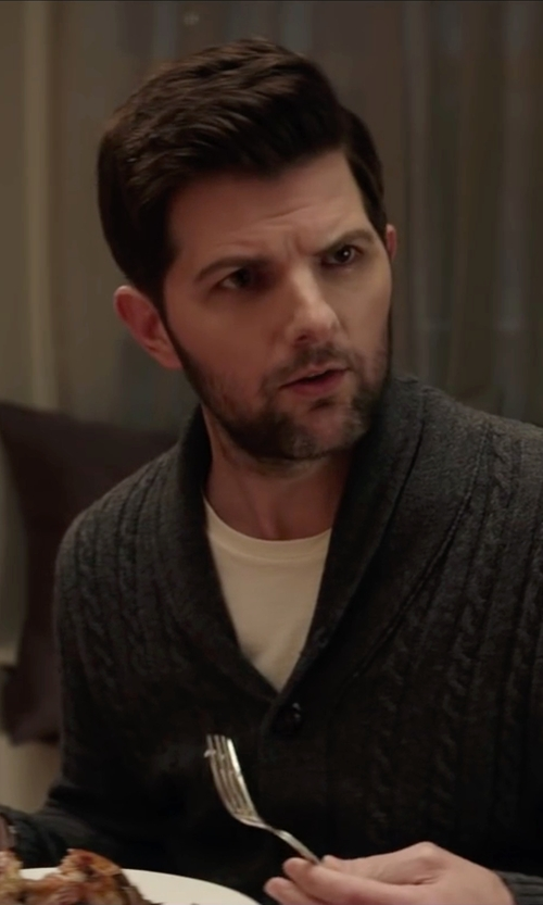Adam Scott with Neiman Marcus Shawl-Collar Chunky Cable-Knit Cashmere Cardigan, Gray in Krampus