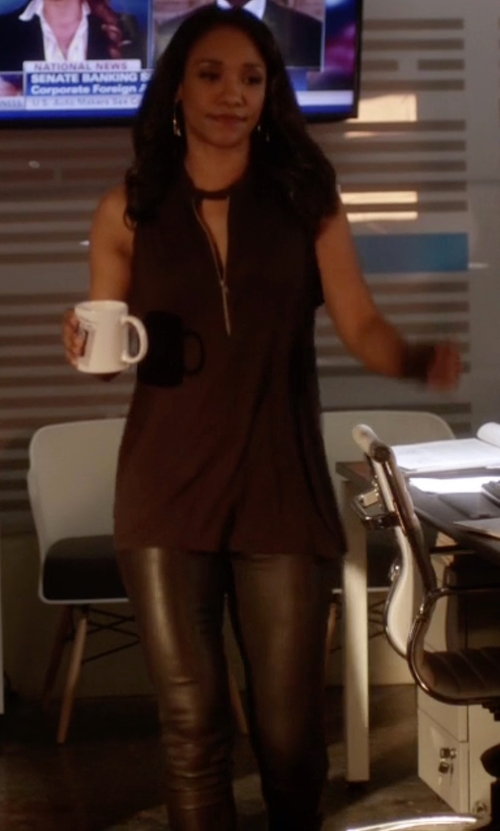 Candice Patton with Maison Espin Casual Pants in The Flash
