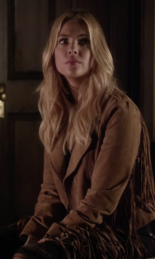 Ashley Benson with Asos Collection Suede Fringing Biker Jacket in Pretty Little Liars