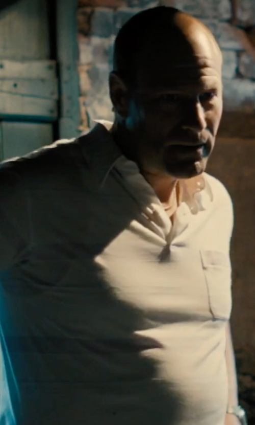 Aaron Eckhart with Calvin Klein Printed Liquid Cotton Polo Shirt in Bleed for This