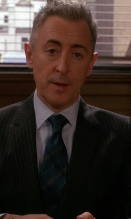 Alan Cumming with Bugatchi Stripe Silk Tie in The Good Wife