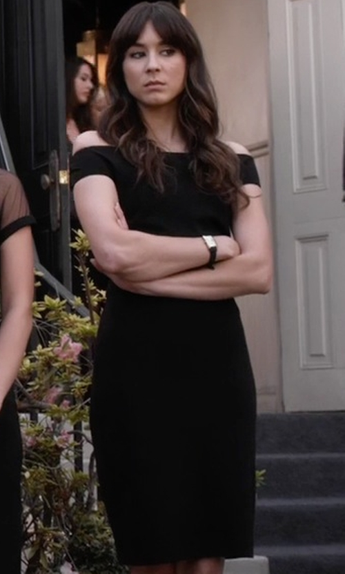 Troian Bellisario with Ted Baker Wiona Bardot Neckline Bodycon Dress in Pretty Little Liars