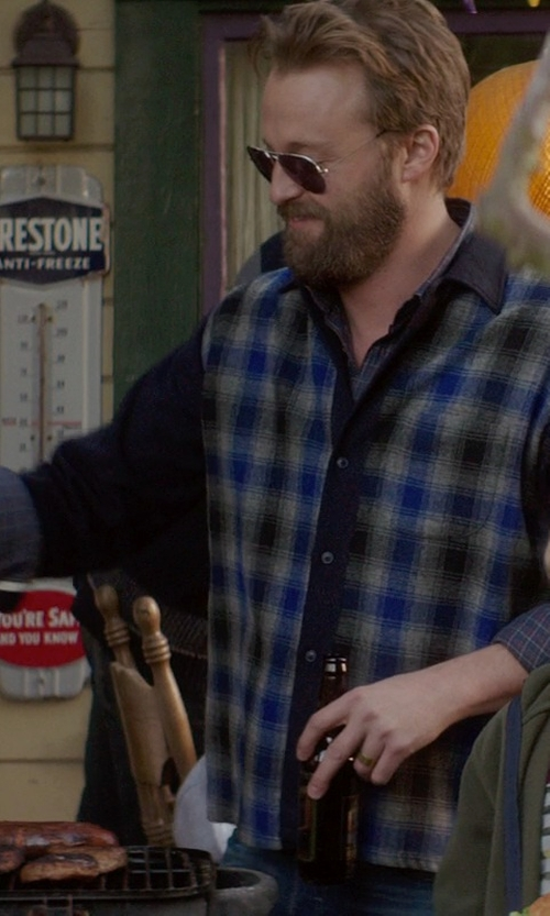 Joshua Leonard with AMI Alexandre Mattiussi Plaid Wool Shirt with Oxford Sleeves in If I Stay