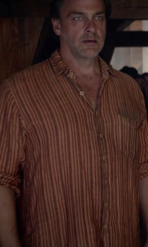 Unknown Actor with Ralph Lauren Slim-Fit Striped Poplin Shirt in The Divergent Series: Insurgent