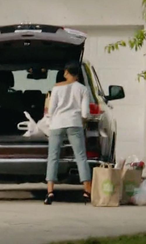 Jazmyn Simon with Genetic Los Angeles Alexa Distressed Slim Boyfriend Jeans in Ballers