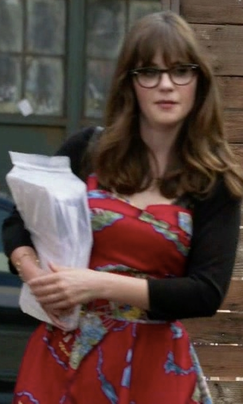 Zooey Deschanel with Neiman Marcus Cashmere Collection Silk-Cashmere Shrug Bolero in New Girl