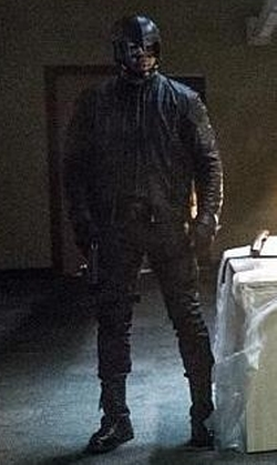 David Ramsey with Maya Mani (Costume Designer) Custom 'Diggle' Costume in Arrow