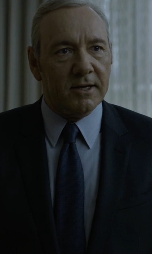 Kevin Spacey with Ermenegildo Zegna Textured Solid Tie in House of Cards