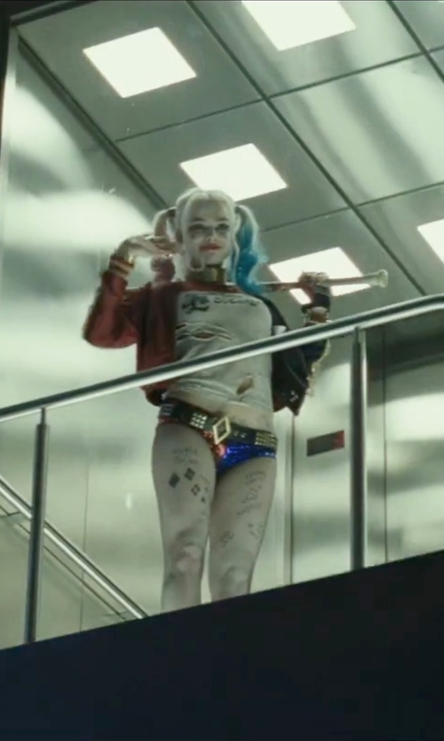 Margot Robbie with Kate Hawley (Costume Designer) Custom Made Sequined Color Block Shorts in Suicide Squad