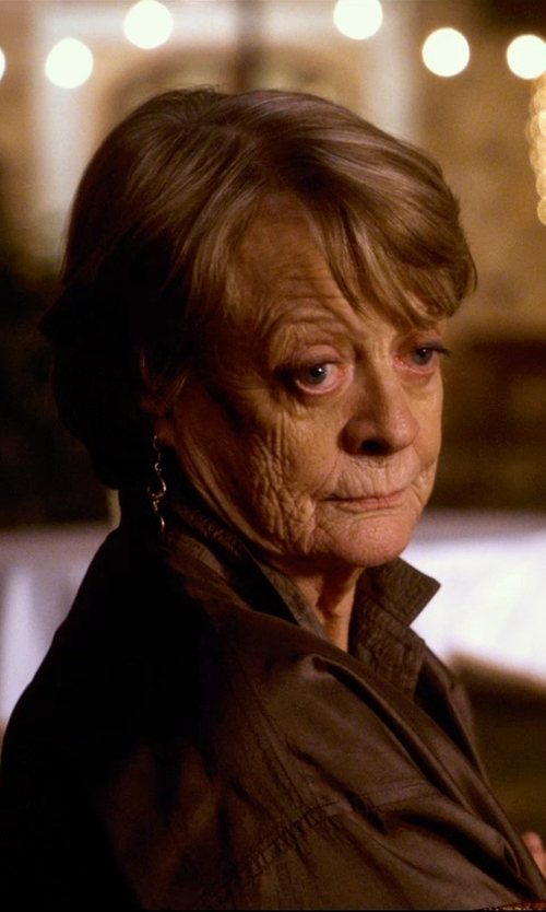 "Maggie Smith with Anna Beck Designs ""Gili Hematite"" Double Drop Earrings in The Second Best Exotic Marigold Hotel"