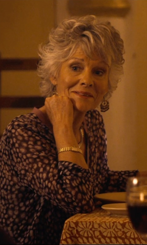Diana Hardcastle with Elizabeth and James Braque Pavé Topaz Chain Necklace in The Second Best Exotic Marigold Hotel