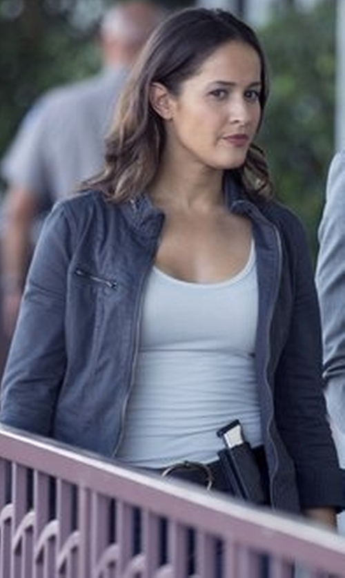Jaina Lee Ortiz with Mem.JS Leather Jacket in Rosewood