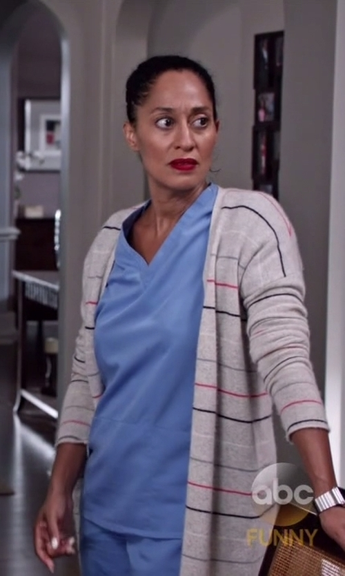 Tracee Ellis Ross with Goddis Linsey Hooded Wrap Cardigan in Black-ish