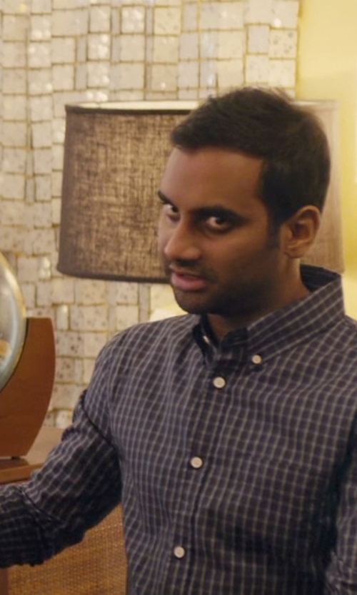 Aziz Ansari with J. Lindeberg 'Ward' Check Print Sport Shirt in Master of None