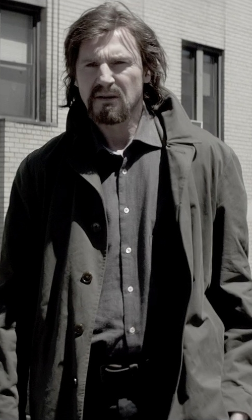 Liam Neeson with London Fog Men's Double Breasted Raincoat in A Walk Among The Tombstones