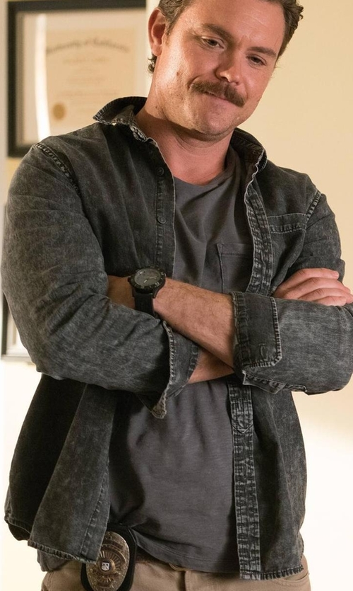 Clayne Crawford with Cheap Monday Washed Light Cotton Denim Shirt in Lethal Weapon