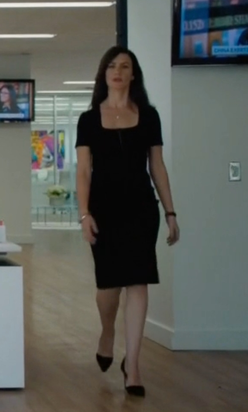 Maggie Siff with Eileen Fisher Square-Neck Shift Dress in Billions