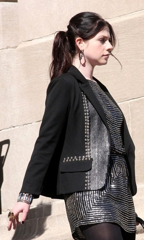 Michelle Trachtenberg with Nanette Lepore 'Fame' Embellished Blazer in Gossip Girl