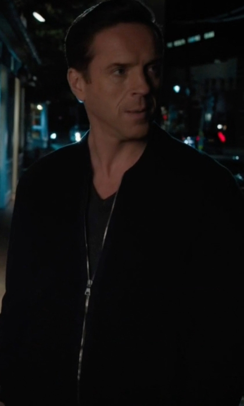 Damian Lewis with Helmut Lang Embroidered Sponge Pique Bomber Jacket in Billions