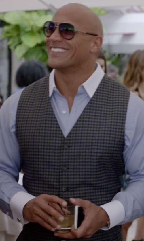 Dwayne Johnson with Barena Checked Buttoned Vest in Ballers