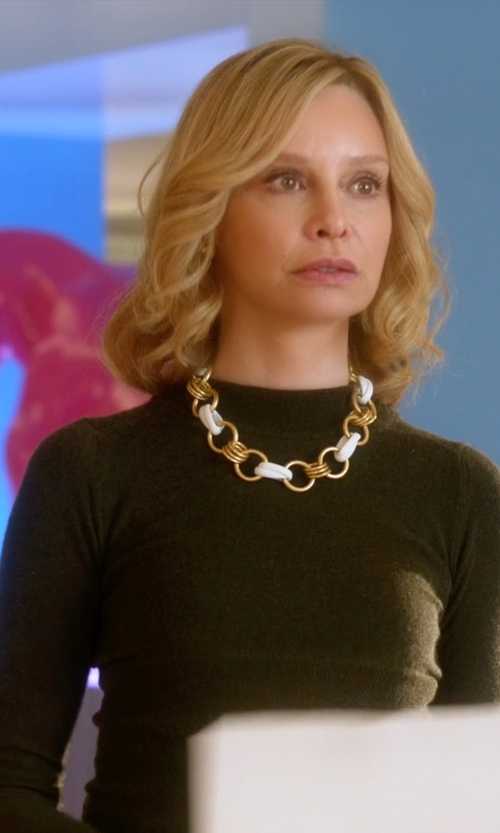 Calista Flockhart with Theory Uotab Ribbed Stretch-Knit Top in Supergirl