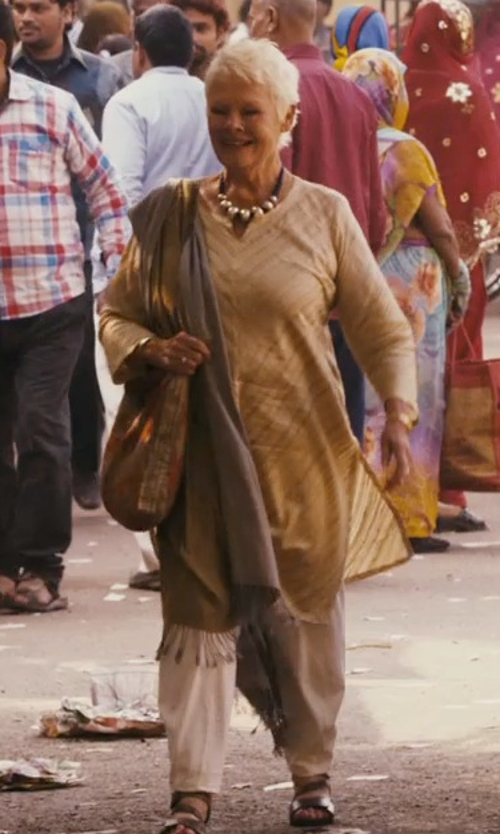 Judi Dench with Tory Burch Lowell Logo Flat Thong Sandals in The Second Best Exotic Marigold Hotel