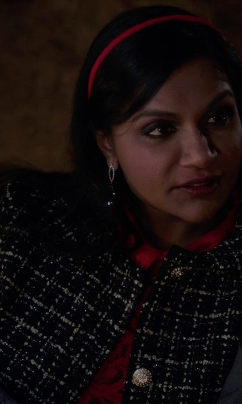 Mindy Kaling with The Salvador Perez Collection Peter Pan Collar Coat in The Mindy Project