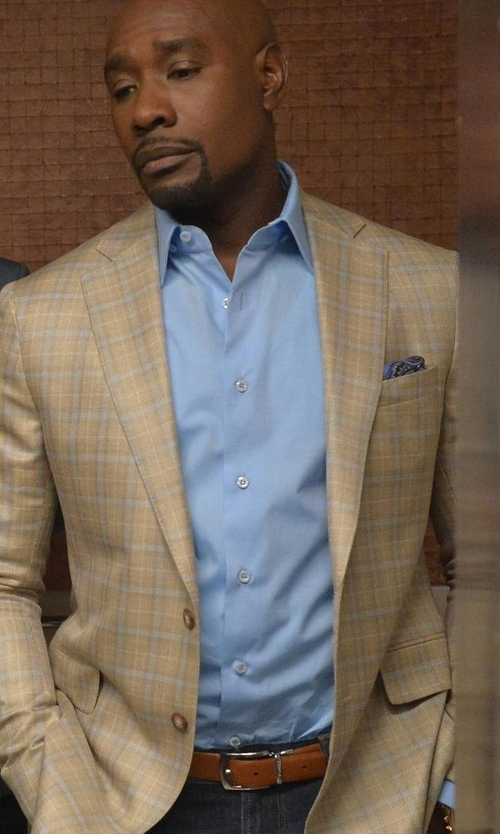 Morris Chestnut with Saks Fifth Avenue Collection Regular-Fit Dress Shirt in Rosewood