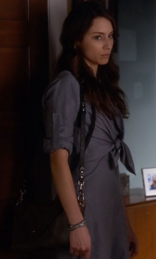 Troian Bellisario with Skagen 'Mikkeline' Leather Satchel Bag in Pretty Little Liars