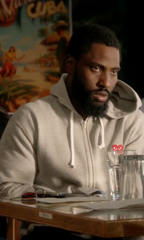 John David Washington with Comme Des Garcons Play Full Zip Hoody Jacket in Ballers