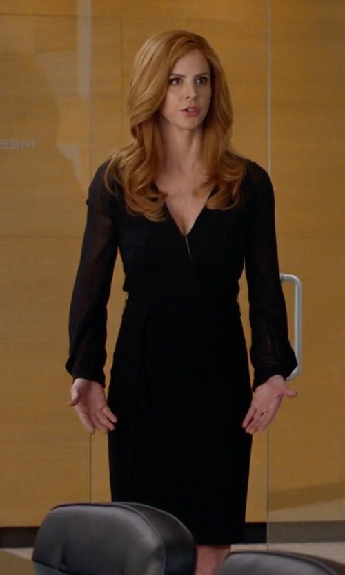 Sarah Rafferty with Max Mara Pordoi Sheer Sleeve Dress in Suits