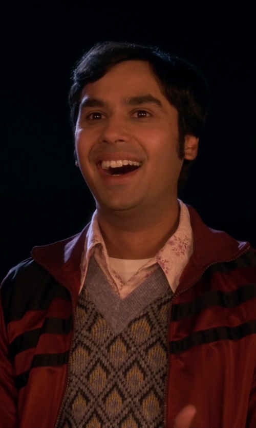 Kunal Nayyar with Robert Graham Chiefdom Long Sleeve Woven Shirt in The Big Bang Theory