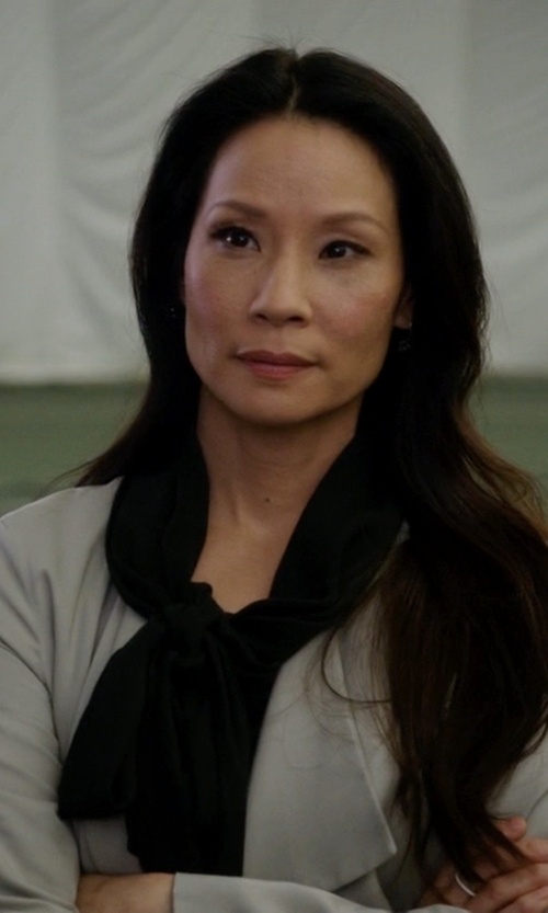 Lucy Liu with Prada Shirt Dress in Elementary