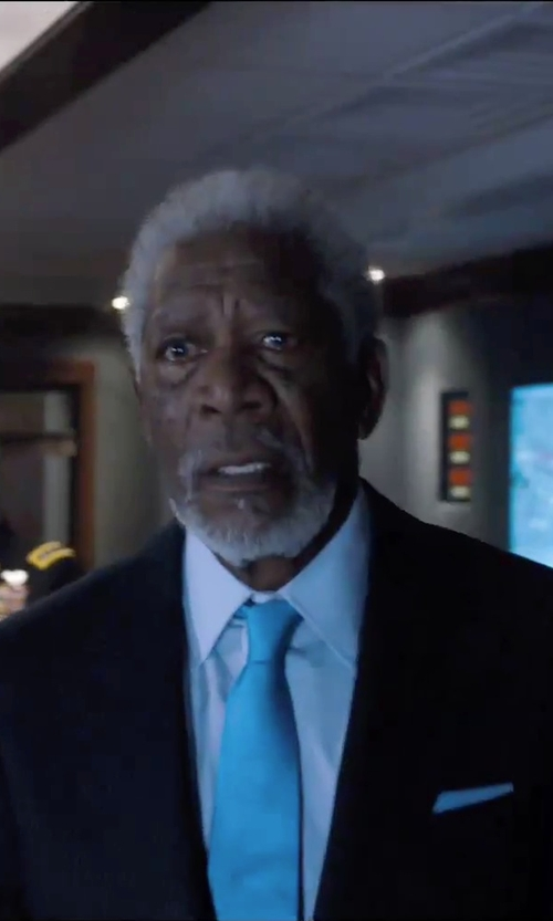Morgan Freeman with Alara Satin Solid Silk Tie in London Has Fallen