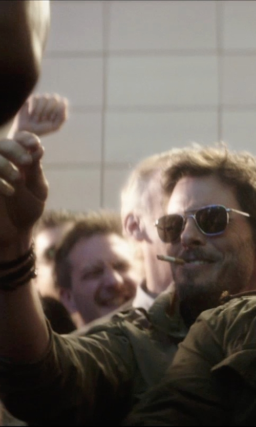 James Marsden with Hugo E-Speed Leather Wrap Bracelet in The D Train