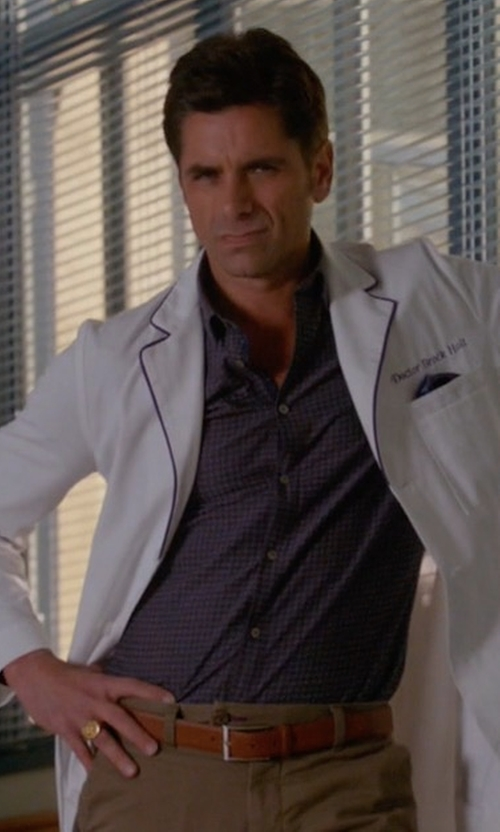 John Stamos with Eton of Sweden Slim-Fit Cotton Dress Shirt in Scream Queens