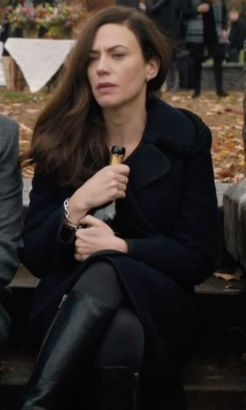 Maggie Siff with Tomas Maier Double Breasted Peacoat in Billions