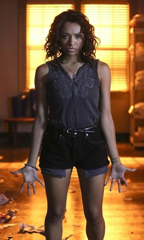 Kat Graham with Nadri Amethyst Pendant Necklace in The Vampire Diaries