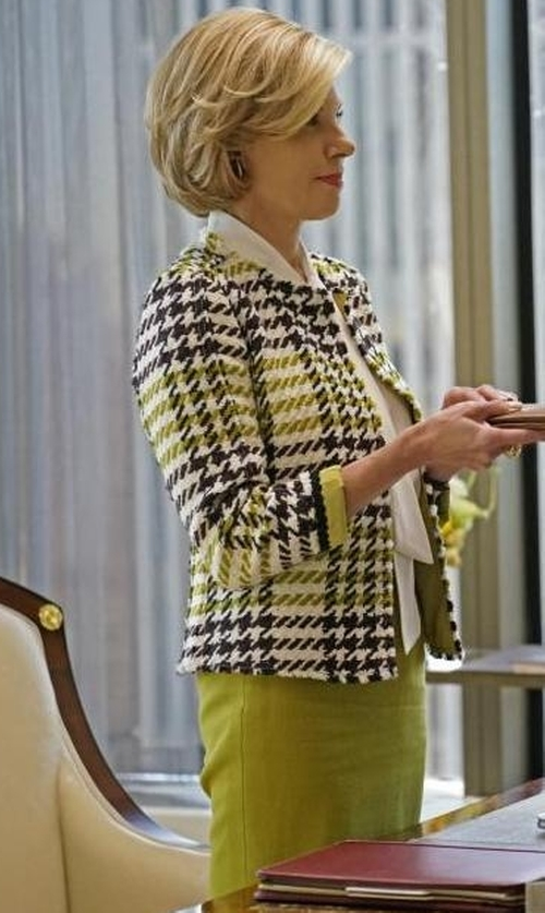 Christine Baranski with Lafayette 148 New York Nouveau Crepe Wool Pencil Skirt in The Good Fight