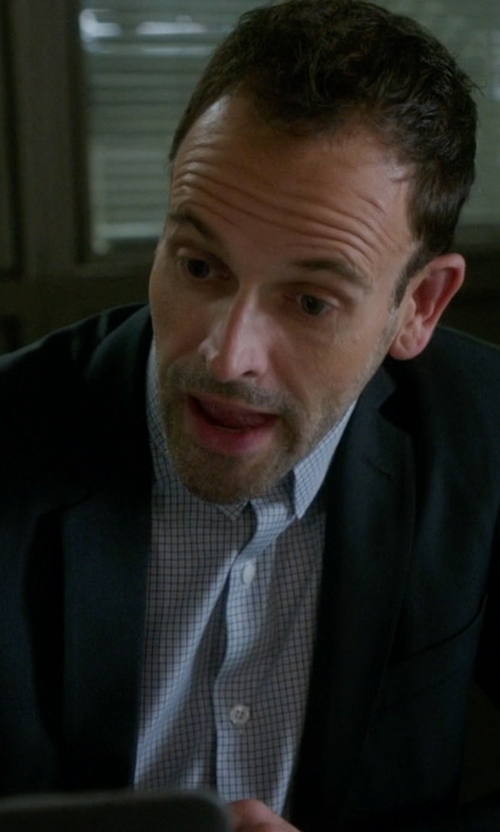 Jonny Lee Miller with Cego Custom Made Gingham Check Button Shirt in Elementary
