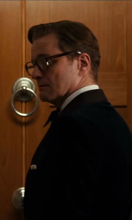 Colin Firth with Kingsman for Mr. Porter Blue Velvet Smoking Jacket With Silk-Grosgrain Shawl-Collar in Kingsman: The Secret Service