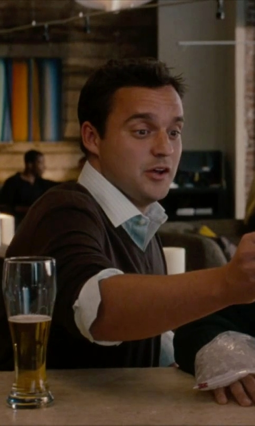 Jake Johnson with Canali V-Neck Sweater in No Strings Attached