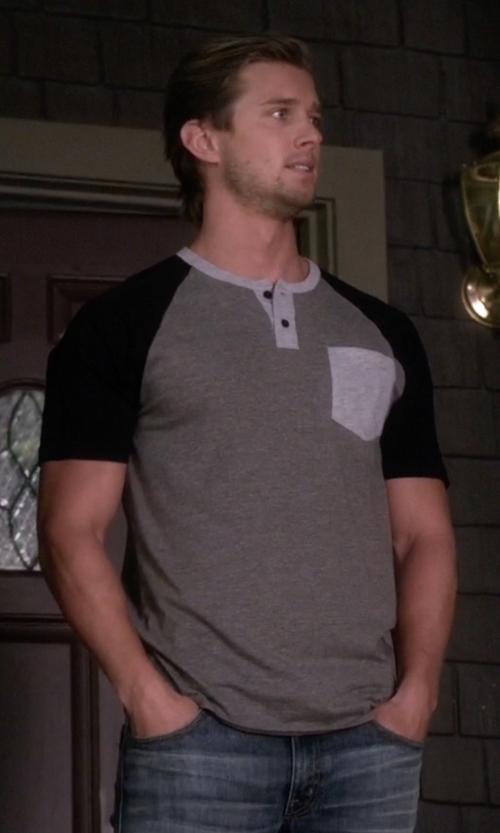 Drew Van Acker with RVCA 'Come Up' Colorblock Henley T-Shirt in Pretty Little Liars