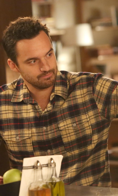 Jake Johnson with American Rag Western Plaid Long Sleeve Shirt in New Girl